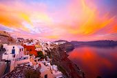 picture of water-mill  - Oia Santorini Greece famous with romantic and beautiful sunsets - JPG