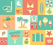 Beach icons set. Vector illustration.