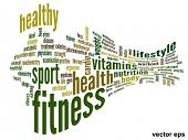 Vector eps concept or conceptual 3D abstract fitness and health word cloud or wordcloud on white background