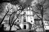 Church of St. Stanislaus Bishop in Krakow, black and white photography.
