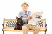 stock photo of sitting a bench  - Senior gentleman sitting on a bench with his dog and reading a newspaper - JPG
