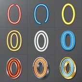 Set Of Neon Style Number 0, Eps 10 Vector, Editable For Any Background, No Clipping Masks
