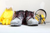 stock photo of work boots  - Renovation at home - JPG