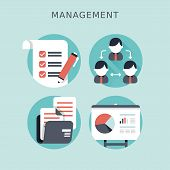 Flat Design Concept Of Business Management