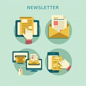 stock photo of spam  - flat design concept of regularly distributed news publication via e - JPG