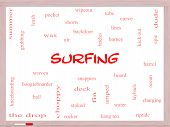 Surfing Word Cloud Concept On A Whiteboard