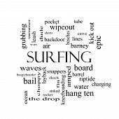 Surfing Word Cloud Concept In Black And White