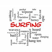 Surfing Word Cloud Concept In Red Caps