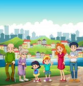 Illustration of a big happy family standing at the riverbank across the village
