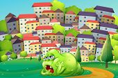Illustration of a monster resting at the hilltop across the village