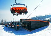 Modern cableway in ski resort Tatranska Lomnica - High Tatras mountains, Slovakia