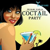 Smiling Girl With Coctail.coctail Party.design Template