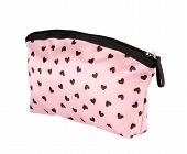 Pink textile cosmetic case