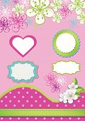 Spring Design Element For Template.spring Flowers,polka Dot,labels