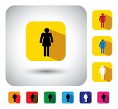 Woman Or Girl Sign On Button - Flat Design Vector Icon