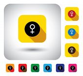 Female Gender Sign On Button - Flat Design Vector Icon