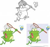 Crazy Frog Chasing A Fly Cartoon Character. Set Collection