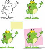 Happy Frog Waving A Greeting Character. Set Collection