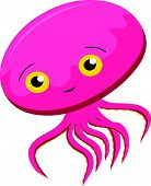 stock photo of kraken  - Vector illustration of Cute Squid cartoon isolated on white background - JPG