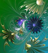 Flower Background. Green, Blue And Gray Palette. Computer Generated Graphics.
