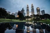 KUALA LUMPUR, MALAYSIA - JANUARY 22: Petronas Twin Towers - tallest twin buildings in the world at t