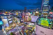 TOKYO, JAPAN - JANUARY 10, 2013: Aerial view of Shibuya's famed crossing. The area is a renown youth
