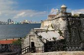 stock photo of el morro castle  - El Morro fortress with the city of Havana in the background - JPG
