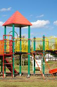 stock photo of pubic  - Children s playground equipment in pubic park - JPG