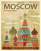 Travel to Moscow Poster - Vintage traveling poster, advertising Russia's capital, with St. Basil's C