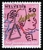Postage Stamp Switzerland 1988 Music, Child Development