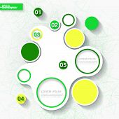 Infographic Template With Green Origami Organic Shape And Circle Labels. Eps10