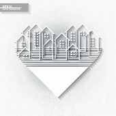 White Infographic Template With Abstract City Silhouette Inscribed Into Heart Shape. Eps10