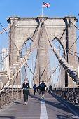 The Pedestrian Walkway Along The Brooklyn Bridge In New York City