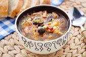 Traditional russian Soljanka soup