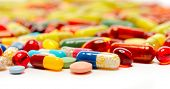 image of antibiotics  - various pills as background - JPG