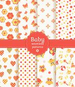 stock photo of girlie  - Collection of baby seamless patterns in pastel colors - JPG