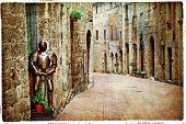 medieval Tuscany. Streets of San Gimignano, artistic vintage picture