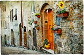 charming old streets of medieval towns of Tuscany. Artistic picture