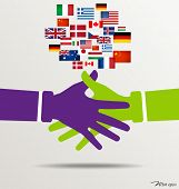 Handshake, Teamwork Hands Logo with flags background. Vector illustration.
