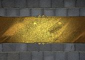 Stone Wall Texture, With Gold Nameplate With Gold Ornate Edges