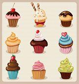 Cupcake set.Vector