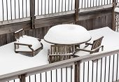 Deep Snowfall On Outdoor Table And Chairs