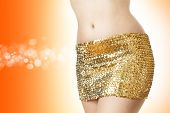 Disco Woman In  Golden Skirt