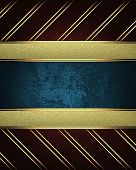 Red Background With Gold Stripes With A Gold Nameplate In The Middle