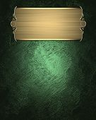 Green Texture With Beautiful Gold Nameplate And Gold Trim