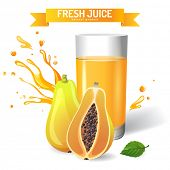 Fresh juice background with papaya and mint