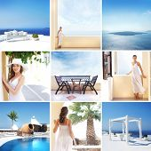 Tourist resort in Greece (Santorini island). Collage of different pictures.