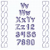 Vector set of sketchbook letters, handmade pen sketch