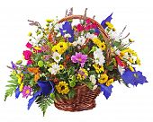 Flowers Bouquet Arrangement Centerpiece In Wicker Basket Isolated On White Background
