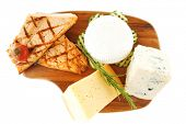 grilled sea fish salmon with french edam gorgonzola and soft feta goat cheeses on wooden plate isola